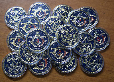 20 x FREEMASONRY MASONIC 1oz - 24ct GOLD PLATED COINS IN CASES. MINT CONDITION