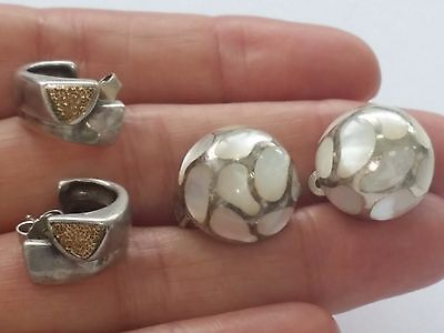 Vintage 925 Sterling Solid Silver 2 pairs Earrings one pair with Mother of Pearl