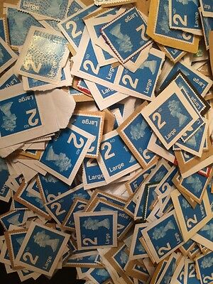 200 blue 2nd class large letter stamps On paper Unfranked Clean Collection