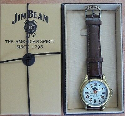 JIM BEAM QUARTZ WATCH GENUINE LEATHER BAND 1990s PROMOTIONAL ITEM NEW IN BOX