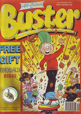 Buster 2nd October 1993 With Free Dinosaur Badge Gift