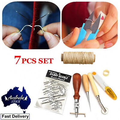 7pcs Leather Craft Thread Awl Waxed Thimb Needlle Hand Stitching Sewing Tool