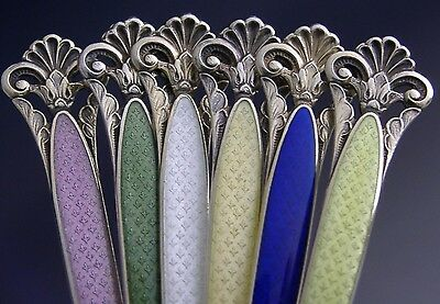6 RARE STERLING SILVER ENAMEL ICELAND SPOONS NORWEGIAN NORWAY c1940 ANTIQUE