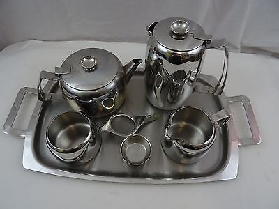 Old Hall Cumberland Stainless Steel Tea Set-Tea Pot Water Pot Milk Jug Sugar