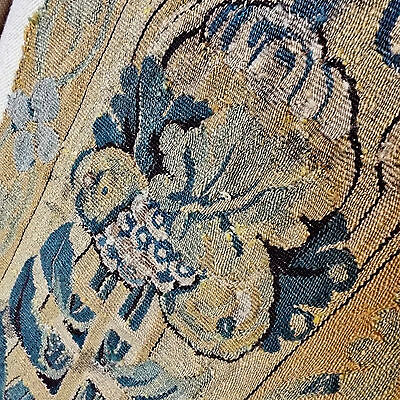 "17th Century French Aubusson Verdure Tapestry Fragment Flowers Project 25"" x 13"""