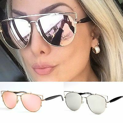 Womens Oval Square Lens Mirror Sunglasses
