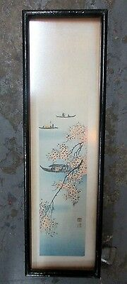 Antique Framed Japanese Watercolour Painting Boats With Blossoms Signed