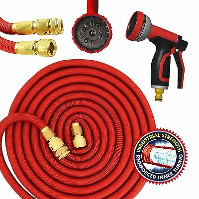 100FT Expandable Garden Hose Flexible Pipe Expanding + Spray Gun Heavy Duty Red