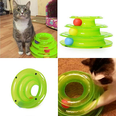 Plastic Three-Level Tower Tracks Cat Toy Amusement Shelf Play Station Green