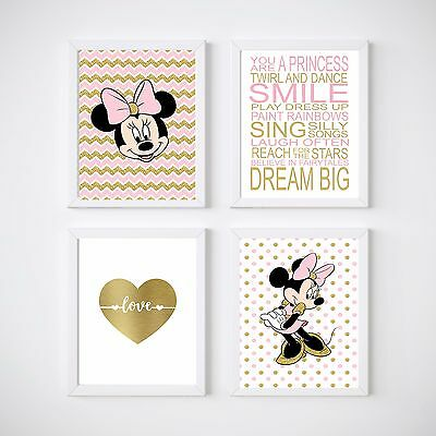 4 Print Set Minnie Mouse Nursery Room Prints, Kids wall decor,
