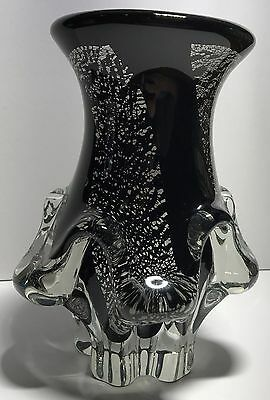 LARGE HEAVY BLACK MURANO GLASS VASE | COLLECTABLE ART GLASS | 21cm