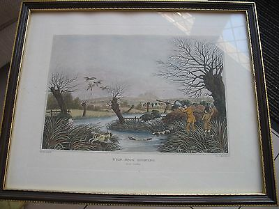 Framed and mounted antique style sporting print  Wild duck shooting nr Cowley