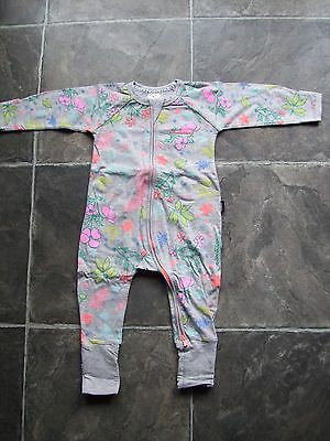 BNWNT Baby Girl's Bonds Grey Floral Zip Wondersuit/Coverall/Sleeper Size 0