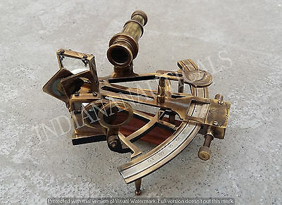 "Antique Nautical Sextant 8"" Solid Vintage Brass Heavy Working Instrument."
