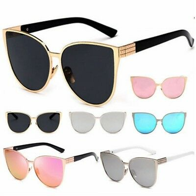 Womens Oversized Large Cat Eye Butterfly Sunglasses Flat Lens UV400 Mirrored AU