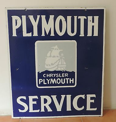 Rare Old VINTAGEL PLYMOUTH DOUBLE SIDED Porcelain Enamel Sign .