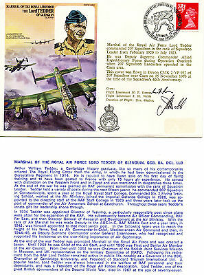 Gb 1976 Cover Raf Sq. 207 Marshal Of Raf Lord Tedder Of Glenguin- Signed By Crew
