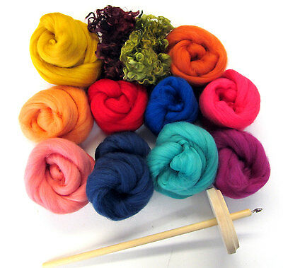 Drop Spindle Kit Learn to Spin your own Yarn Gift Set 200g Wool Top or Batts
