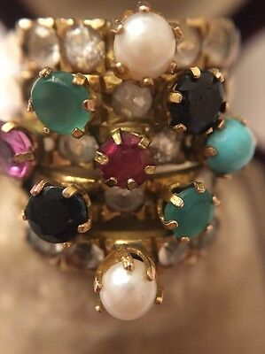Vintage Yellow Gold Hareem 5 Band Ring Turquoise Sapphire Pearl Ornate Pretty