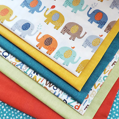 Baby Jungle by Makower Elephant & Alphabet Themed Fabric for Quilt Craft Sewing