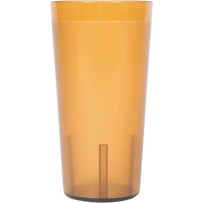 (12-Pack) 20 oz. Amber Round Pebbled Plastic Restaurant Drinking Glass Tumblers