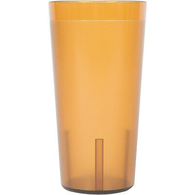 (48-Pack) 20 oz. Amber Round Pebbled Plastic Restaurant Drinking Glass Tumblers