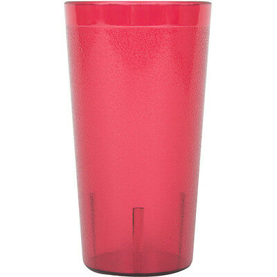 (48-Pack) 16 oz. Red Round Pebbled Plastic Restaurant Drinking Glass Tumblers