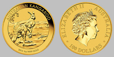 1 oz 2013 Kangaroo Perth Mint Gold Bullion Coin (Mint Condition)