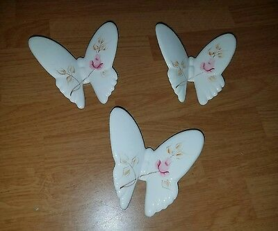 Set of 3 HOMCO Lasting Products Ceramic Butterflies White Pink Roses Wall Art