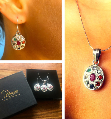 Ruby, Sapphire, Emerald, Sterling Silver 925 and more earrings & pendant set ❤️