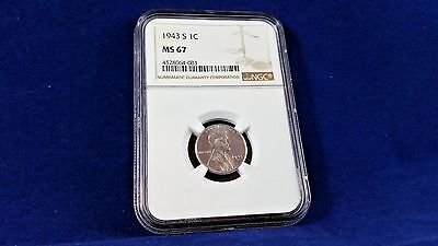 Gem 1943-S Lincoln Wheat Steel Cent Ms-67 Ngc !<<<<<
