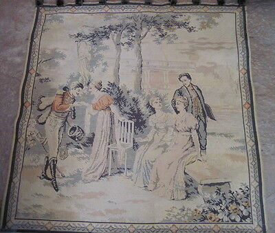 """ANTIQUE WALL TAPESTRY - MADE IN FRANCE, 37"""" x 39"""""""