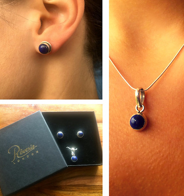Lapis Lazuli & Sterling Silver Pendant and Stud Earrings Jewellery Set - New ❤️