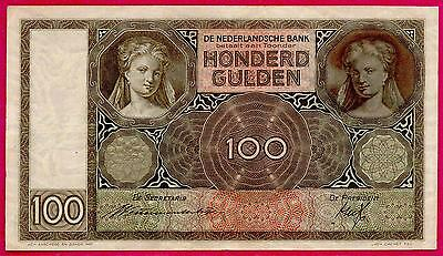 NETHERLANDS 100 GULDEN 1939 P.#51b VF+ BEAUTIFUL BANKNOTE SEE PHOTOS!