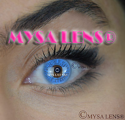 Colored Contact Lenses Kontaktlinsen Blue Aqua I-31 Lens Color 1 Year MYSA LENS