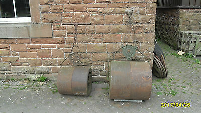 2 x Antique / Vintage Cast Iron garden Rollers Ornaments Maxwell Glasgow
