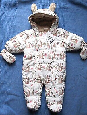 NEXT Baby Girl Snowsuit Bunny All in One 0-3 months BNWT