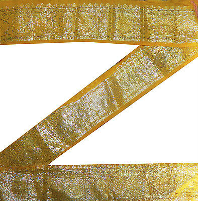 "3.5 ""w Vintage Sari Border Indian Floral Zari Woven Yellow Trim Craft Lace 5.5Y"