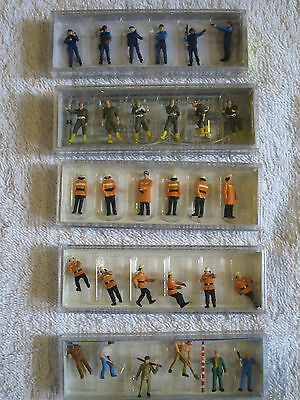 New Boxed Preiser Ho / 1:87 Gauge Uniformed People Figures Firemen Police Worker