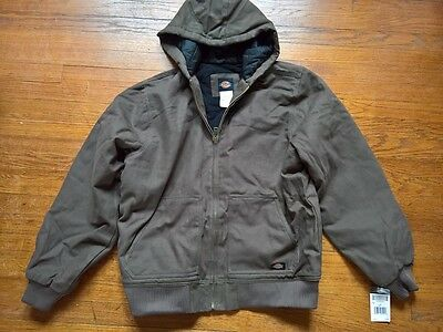 * * * DICKIES Men's Sanded Duck Hooded Jacket - TJ245 - LARGE TALL - OLIVE * * *