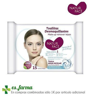 Natur Face Toallitas Desmaquillantes Agua Micelar 15 Uds Make-Up Remover Wipes