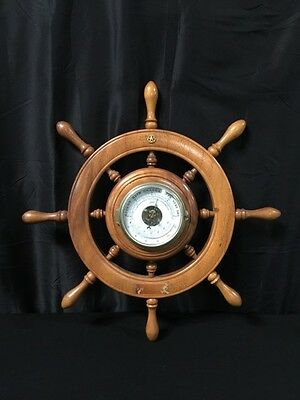 Schatz Royal Mariner Brass Barometer w Thermometer Germany in a Wood Ship Wheel