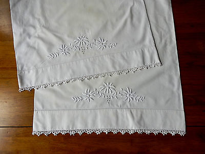 Vintage Pair White Pillowcases - Hand Done Embroidery & Crochet Lace