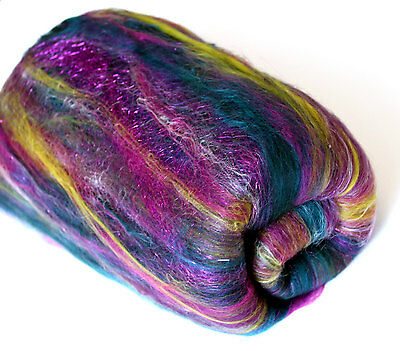 Carded Batt Merino Wool Silk Fibre XL Peacock Sparkle 100g Spinning Felting