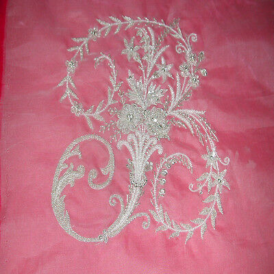 """French Design of Couture Hand Embroidered MONOGRAM """"B"""" All BEADING"""