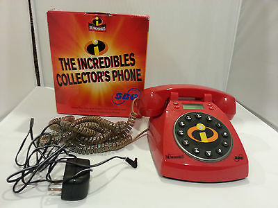Disney / Pixar THE INCREDIBLES Working Telephone W/Display Lights Up When Ringin