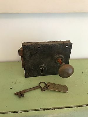 Old Iron Antique Door Lock with Knobs and working Key Reclaimed from Church