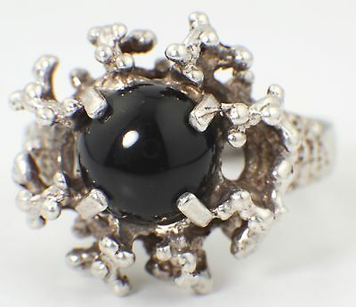 VINTAGE STERLING SILVER & ONYX RING - NATURALISTIC SILVER RING 1970s