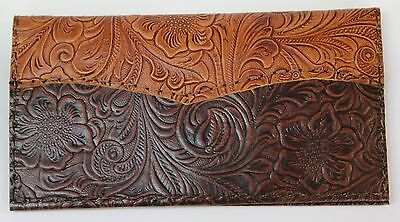 Tan & Chocolate Western Floral Cowhide  Leather Checkbook Cover Free Shipping