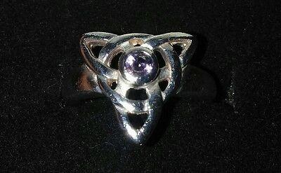 Sterling Silver Celtic Ring With A Amethyst Stone